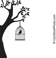 bird in a cage - vector bird in a cage