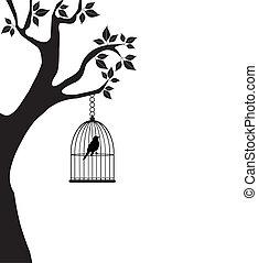 bird in a cage - vector bird in a cage