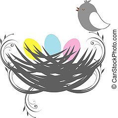 bird nest - vector bird nest with eggs