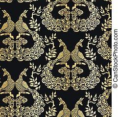 vector bird peacock pattern seamless pattern dark gold