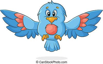vector bird - vector cartoon bird with outspread wings