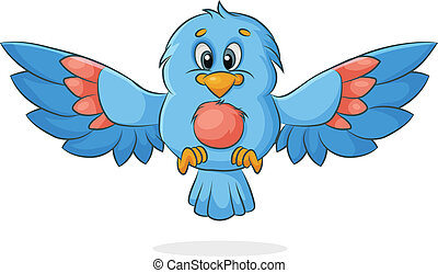 vector cartoon bird with outspread wings