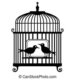 Lonely two birds in a cage, isolated on white background, full scalable vector graphic included Eps v8 and 300 dpi JPG.