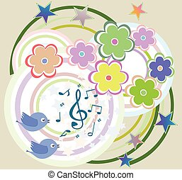 vector birds in love, singing on abstract floral background