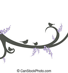 Vector birds on a decorative branch