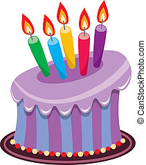 birthday cake with burning candles - vector birthday cake...