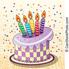 birthday cake - vector birthday cake with candles and ...