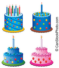 birthday cakes - vector birthday cakes with burning candles