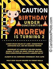 Vector Birthday Card Template with Cute Little Boy