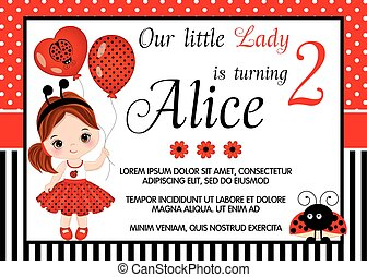Vector Birthday Card Template with Cute Little Girl