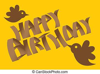 Vector Birthday card with birds.