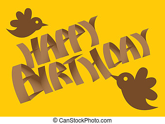 Vector Birthday card with birds.