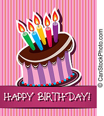 vector birthday card with cake and candles