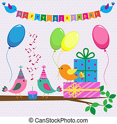 Vector birthday card with cute birds