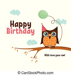 Vector birthday card with cute owl