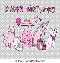 Vector birthday card with funny cat