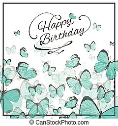 Vector Birthday Greeting Card with Blue Butterflies