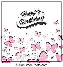 Vector Birthday Greeting Card with Pink Butterflies