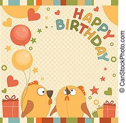 Vector birthday party card with cute birds
