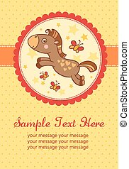 Vector birthday party card with horse