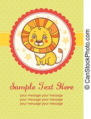 Vector birthday party card with lion.