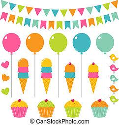 Vector birthday set