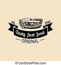 vector, bistro, broodje, natuurlijke , voedingsmiddelen, ouderwetse , teken., vasten, emblem., eatery, straat, hipster, etiket, icon., logo.