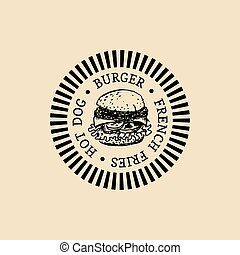 vector, bistro, broodje, voedingsmiddelen, ouderwetse , teken., vasten, hand, hamburger, eatery, straat, hipster, retro, label., getrokken, icon., emblem., logo.