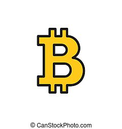 Vector bitcoin sign, cryptocurrency flat color icon.
