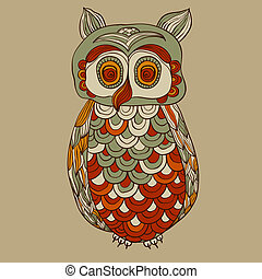 vector bizarre funky owl with detailed feathers, fully editable file