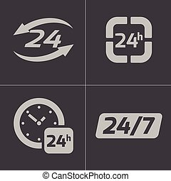 Vector black 24 hours icons set