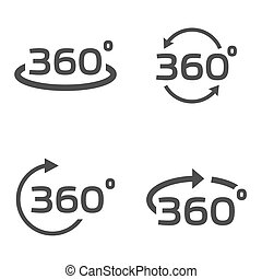 Vector black 360 Degrees icons set