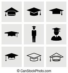 Vector black academic cap icon set