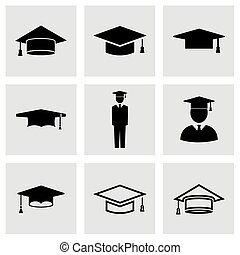 Vector black academic cap icon set on grey background