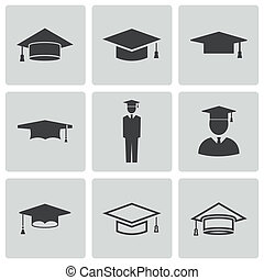 Vector black academic cap icons set on white background
