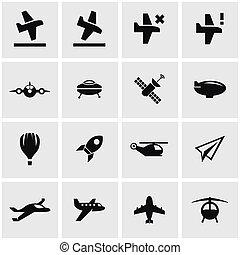 Vector black airplane icon set