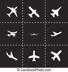 Vector black airplane icon set black background
