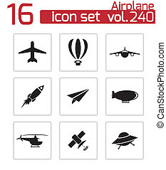 Vector black airplane icons set