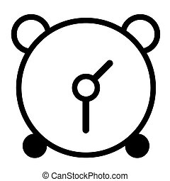 vector black alarm clock icon on white background.