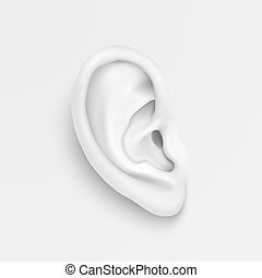 Vector black and white background with realistic human ear...