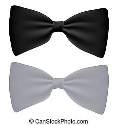 Vector black and white bow-tie isolated on white