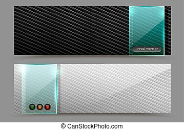 Vector black and white carbon fiber background futuristic tech horizontal web banner with green transparent square glass plate element. Industrial design illustration