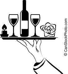vector black and white  catering icon of waiter's hand holding tray
