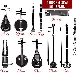 Vector black and white chinese musical instruments - Vector...