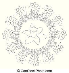 vector black and white circular round spring mandala with flower daffodil - adult coloring book page