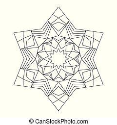 vector black and white circular round star mandala hexagram...