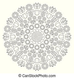 vector black and white circular spring mandala with butterflies, flowers, leaves, tulips - adult coloring book page