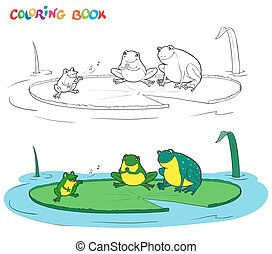 Vector black and white coloring book of a frogs family.