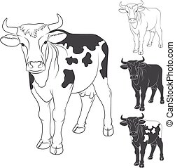 Vector black and white cow.