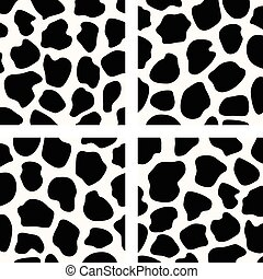vector black and white  cow skin patterns